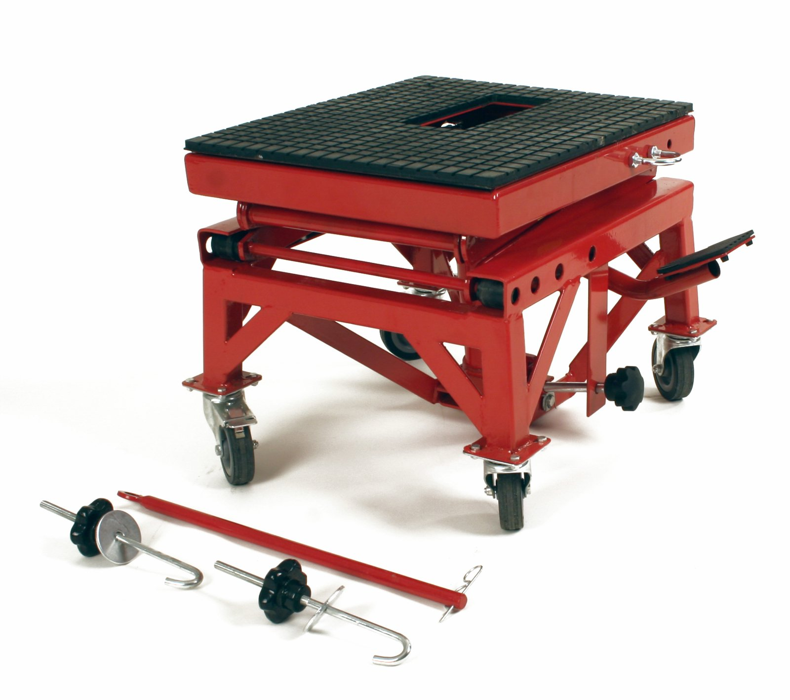 "Dragway Tools 300 Lb Motorcycle Dirt Bike Stand Jack Lift Cart w/ 3"" Rubber Locking Wheels at Sears.com"